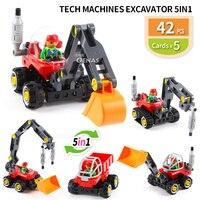 Tech Machine excavator rooter 5 in 1 Technic Block DIY Building Bricks Educational kids Toy fit Duploed Children gift
