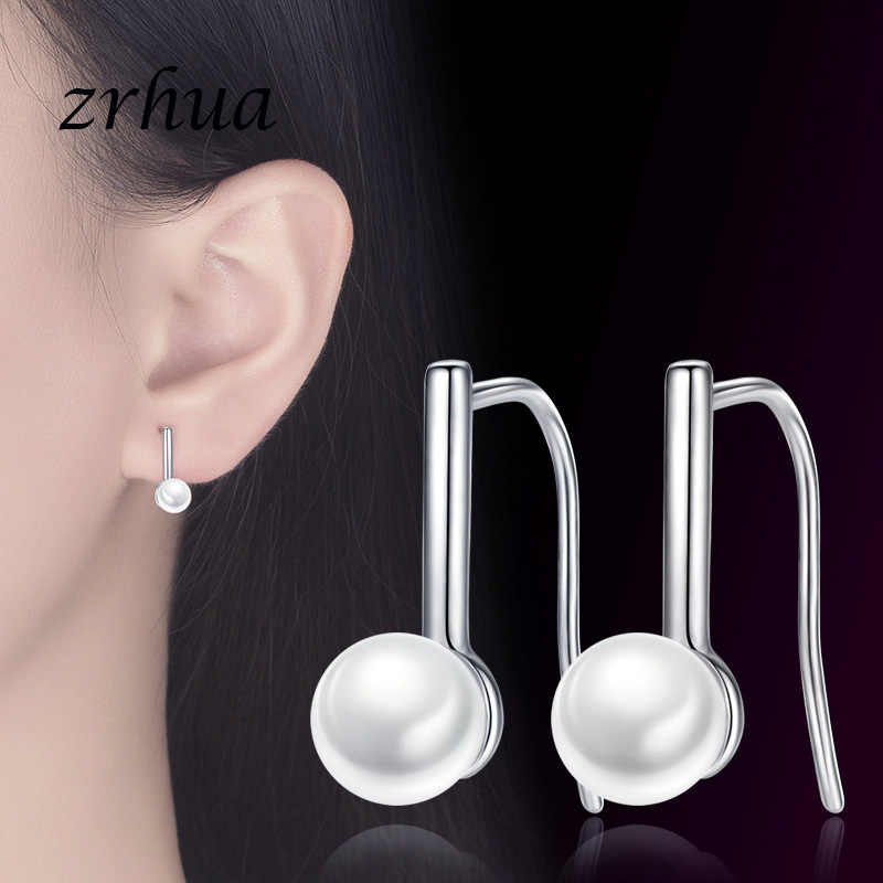 ZRHUA Hot Trendy Pearl Rhinestone Ball Earrings for Women New Fashion 925 Sterling Silver Jewelry Wedding Party Brincos Gifts
