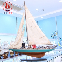 LUCKK 90 CM American Wooden Model Ships Blue Home Interior Vintage Decoration Wood For Crafts Sea Style Assembling Building Kits american interior