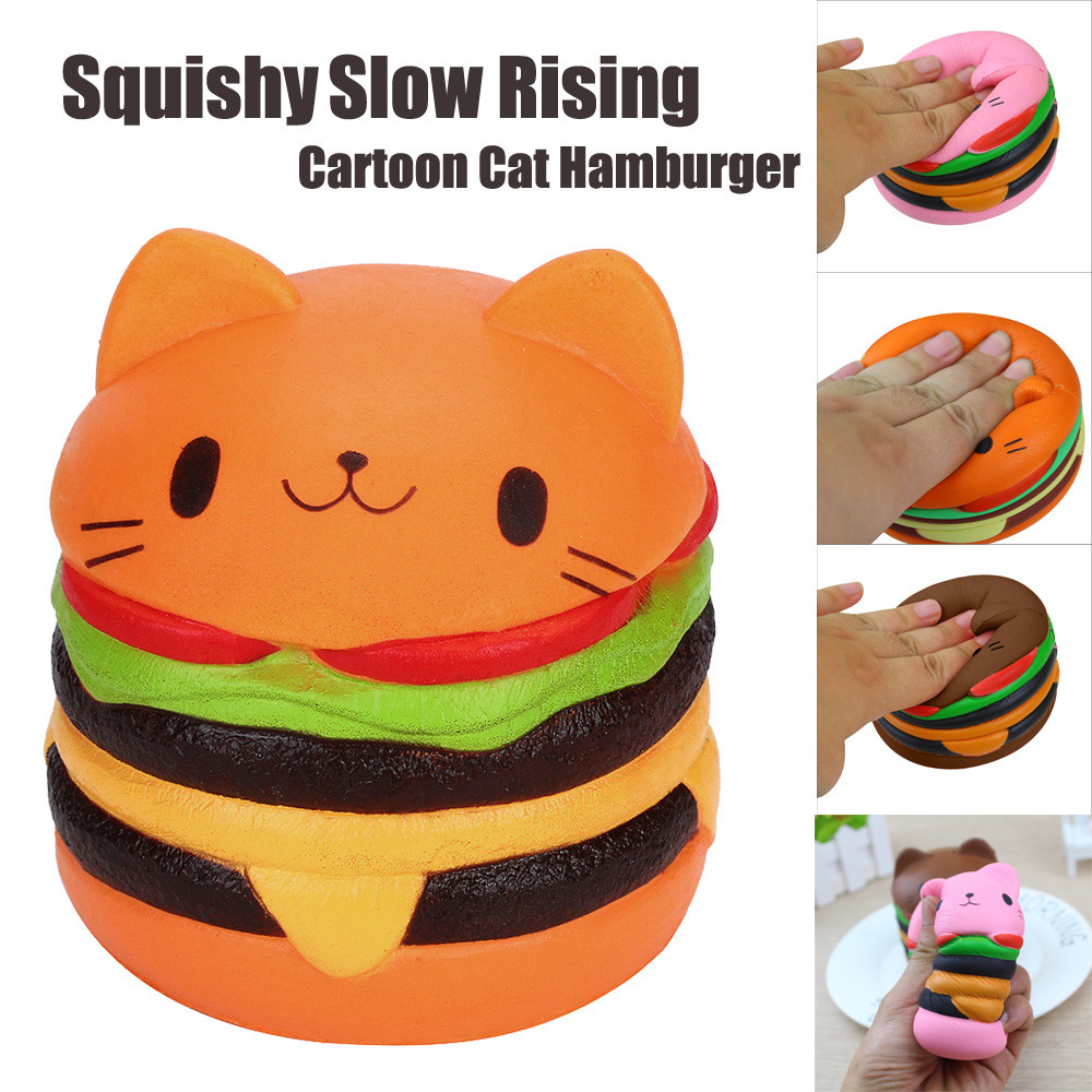 Cute Kawaii Soft Squishy Jumbo Cartoon Cat Hamburger Scented Slow Rising Decompression Panda Burger Toys Relax slow resilient series of lovely elastic mermaid toys jumbo squishy 5pcs