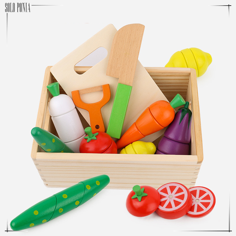 Mother garden Baby Wooden Kitchen Toys Cutting Fruit Vegetables food education toys for kids girl for Preschool Children gifts candywood mother garden baby kids wood kitchen cooking toys wooden kitchenette gas stove educational toys for girl gift