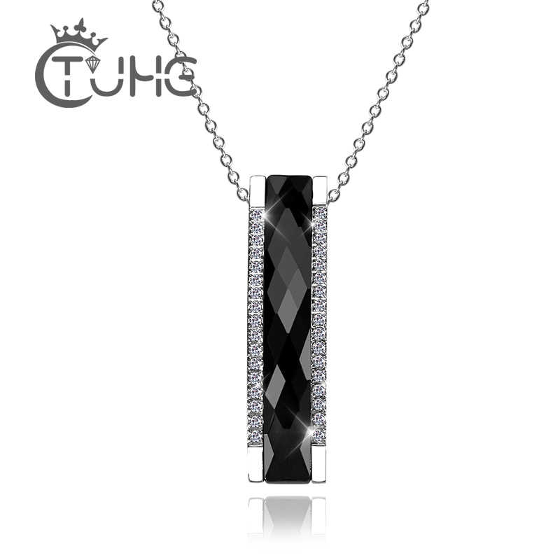 Fashion Necklace Elegant Trendy Black Ceramic Rectangle Pendant Necklace For Women/Girl Silver AAA Crystal Geometric Jewelry
