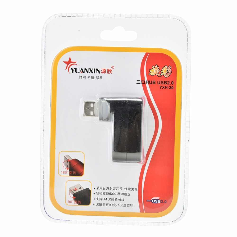 Kecepatan tinggi Mini 3 Port USB 2.0 Berputar Splitter Adapter USB Hub Untuk PC Laptop Notebook Mac Peripheral Ekspansi Retail paket