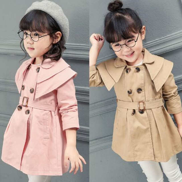 fd7767795a63 2017 Spring Autumn England Style Children Trench Girls Baby Girl ...