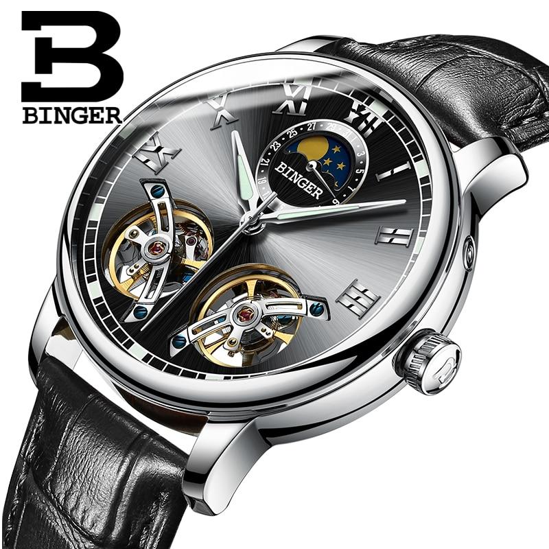 Switzerland watches men luxury brand BINGER sapphire Water Resistant toubillon full steel Mechanical Wristwatches B 8607M