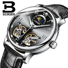 Schweiz uhren männer luxusmarke BINGER saphir Wasserdicht toubillon voller stahl Mechanische Armbanduhren B-8607M-4
