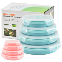 4pcs/set Silicone Lunch Box Portable Bowl BPA Free Microwavable Folding Food Container Lunchbox 350/500/800/1200ml Eco Friendly