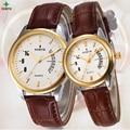 Lovers' Watches Casual Women Dress Watch Fashion Business Men Leather Watch Quartz Waterproof XFCS Luxury Brand Couple Watches