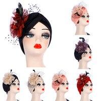 Turban Hair Accessories Muslim Scarf Women Stretchy Big Flower Head Cap Hat Ladies Hair Loss African