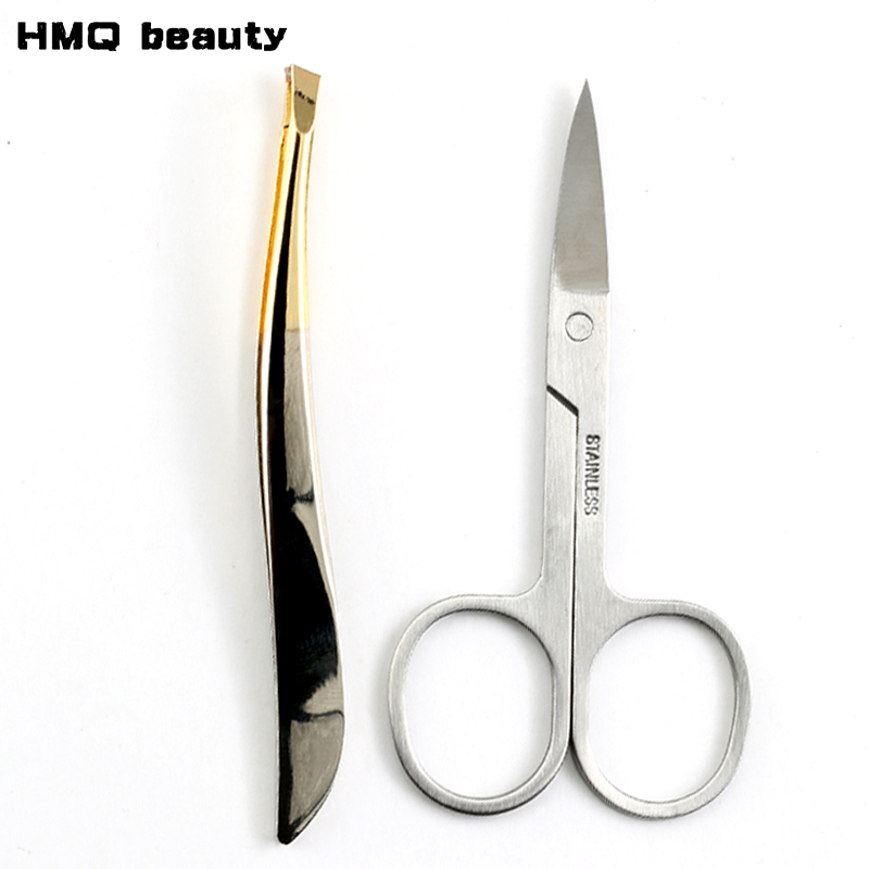2pc Eyebrow Tweezer Set Stainless Steel Slant Tip/Point Tip/ Flat Tip Eyes Tweezer For Face Hair Removal Make Up Tools