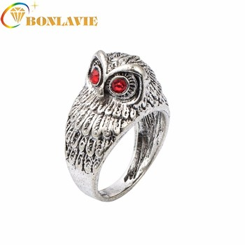 Fashion Punk Crystal Eye Owl Finger Ring For Men Vintage Silver Color Bague Homme Knuck Ring For Party Jewelry Gift image