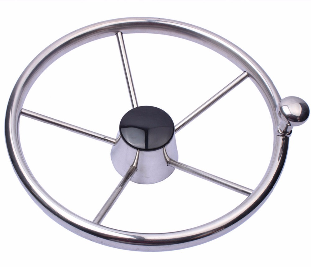 Marine Stainless 11'' Boat Stainless Steel 5 Spokes Steering Wheel 280mm Dia For Marine Yacht