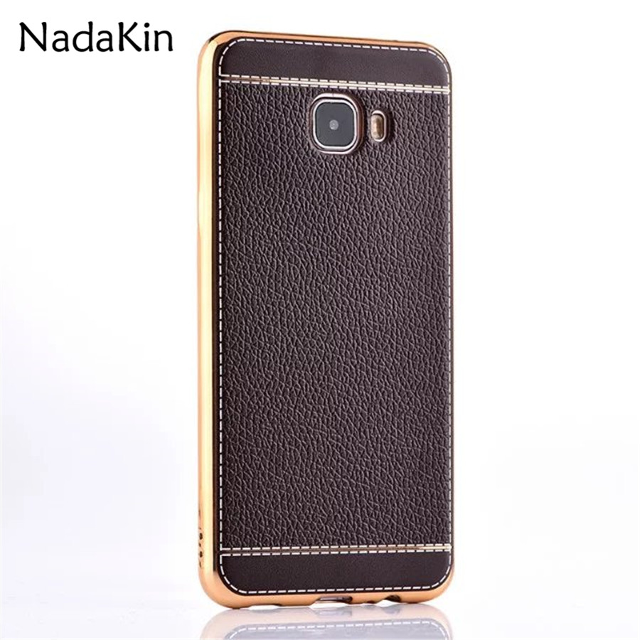 Luxury Leather Case Plating Frame Soft TPU Back Cover for Samsung Galaxy S6 S7 S8 Edge S9 Plus C5 C7 C9 Pro A8 J5 J7 2016 Prime