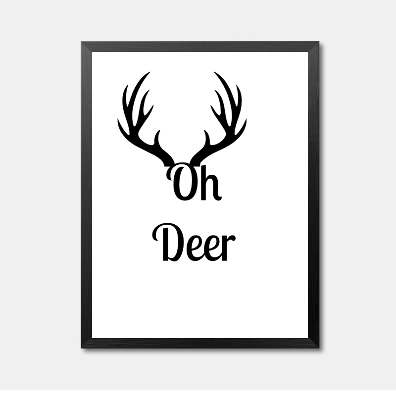 Smile Yes Deer Black White English Letters Wall Art Canvas Painting Print Poster HD2106 in Painting Calligraphy from Home Garden