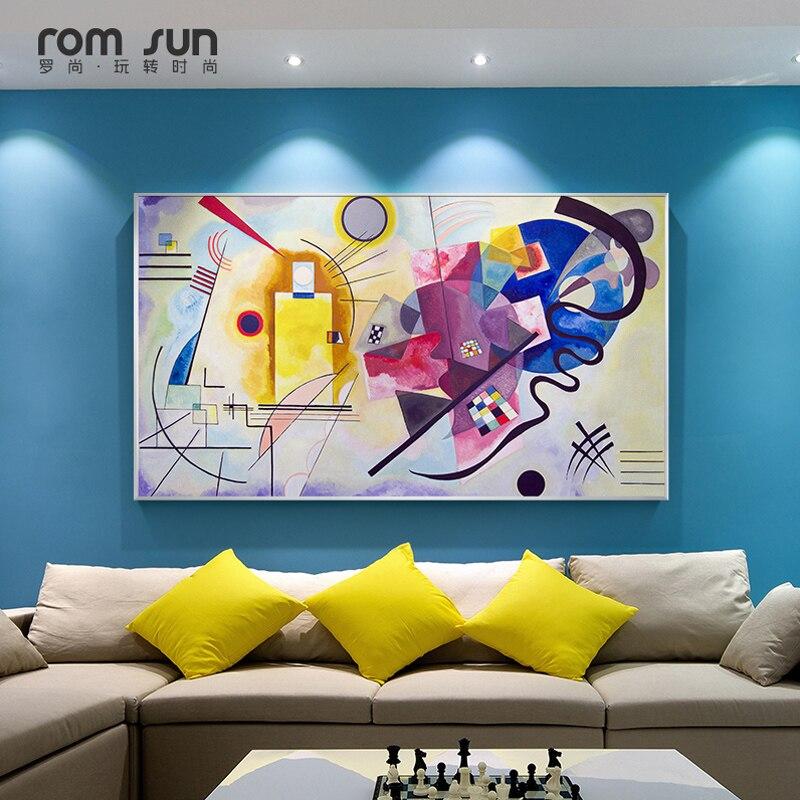 187 37 De Descuentokandinsky Abstracto Famoso Lienzo Pintura Rojo Amarillo Azul Arte Pared Imagen Para Sala De Estar Decoración Del Hogar Hd