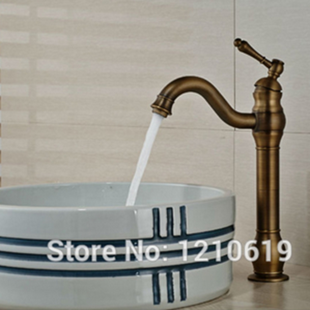 ФОТО Newly Tall Bathroom Sink Faucet Retro Style Antique Brass Basin Faucet Mixer Tap Single Handle Single Hole
