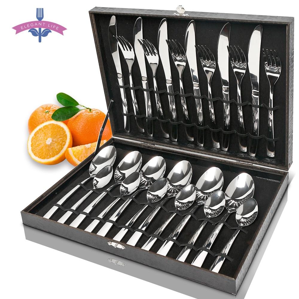 24 Pcs Cutlery Set Silverware Wooden Box Stainless Steel
