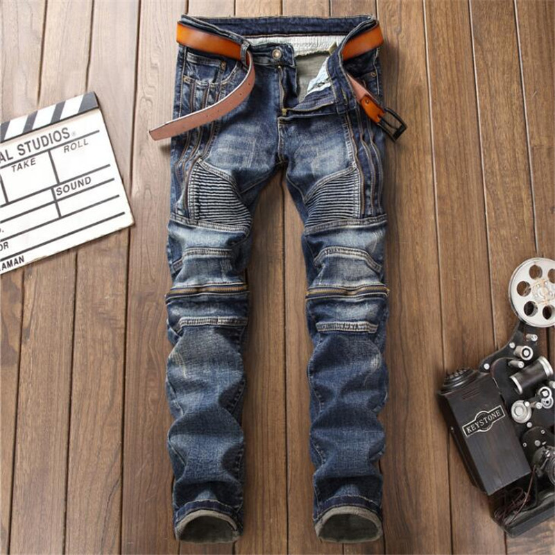 Fashion Retro Blue jeans homme Men Jeans Biker Fake Zippers Denim,Moto Straight punk rock jeans for men Pants plus size 38 ...