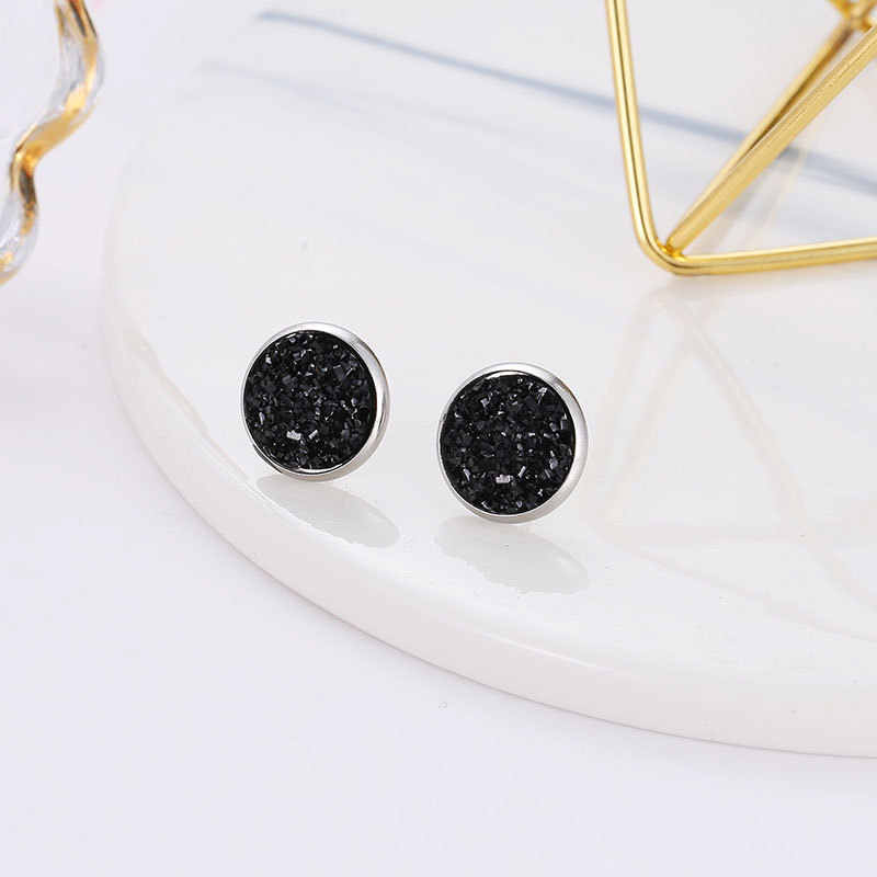 Deep Black Star Stone Jewel Earrings For Women 10 Colors Round With Cubic Zircon Charm Flower Stud Earrings Women Jewelry Gift