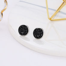 Deep Black Star Stone Jewel Earrings For Women 10 Colors Round With Cubic Zircon Charm Flower Stud Earrings Women Jewelry Gift(China)