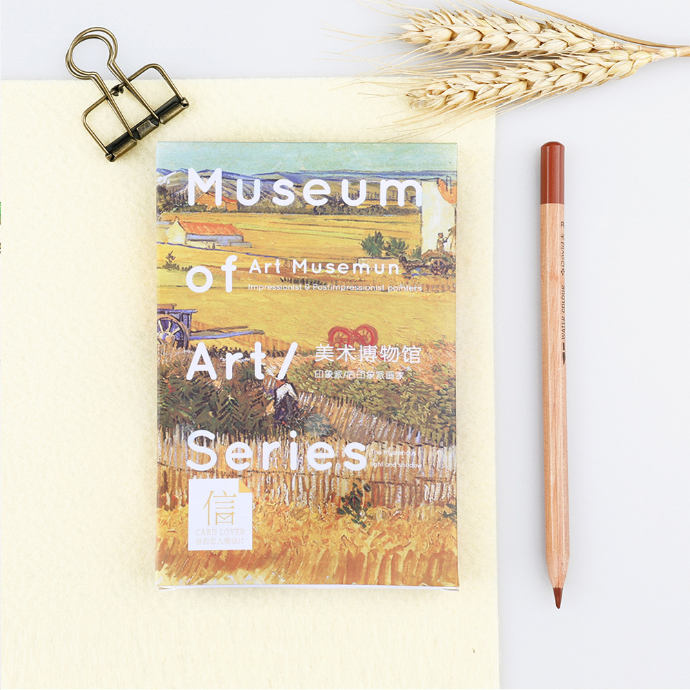 30pcs/lot Art Museum Van Gogh  Artist Postcards Cute DIY Envelop Gift Card Creative Bookmark Wholesale Stationery