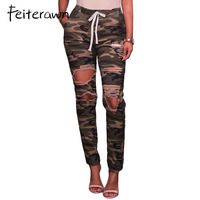 Feiterawn Sexy Jeans Woman Fashion Camouflage Denim Pants Army Green Elastic Waist Distressed Skinny Holes Pencil