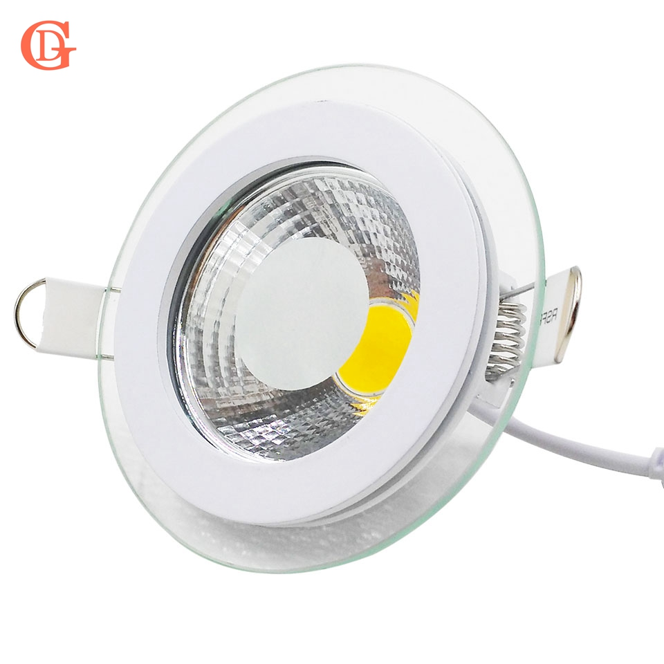 Downlight à LED COB Dimmable 7W 10W 12W 15W 20W 30W Panneau lumineux à LED COB AC85-265V Encastré COB Downlight Couvercle en verre Down Light