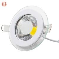 Led downlight cob pode ser escurecido 7 w 10 12 15 20 30 led cob painel luz AC85-265V recesso cob downlight vidro cobrir para baixo luz