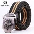 [LCY] Táctico militar Cinturón de Lona para Los Hombres Las Mujeres Vaqueros Deporte Al Aire Libre Hebilla de Metal Correa de Cintura cinto masculino Militar LB063