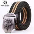 [LCY] militar Tático Cinto de Lona para Mulheres Dos Homens calças de Brim Do Esporte Ao Ar Livre de Metal Buckle Strap Cintura Militar cinto masculino LB063