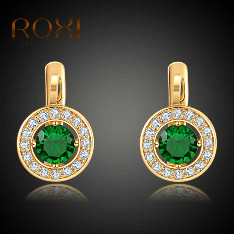 c0b7b517b ROXI Women Stud Earings Clips Luxury Gold Cubic Zirconia Green Studs Earring  Wedding Birthday Party Jewelry