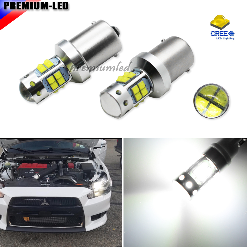 (2) CANbus Error Free HID White 1156 LED Bulbs for 2008-2015 Mitsubishi Lancer or Evolution X Daytime Running Lights автомобиль mitsubishi lancer evolution 8