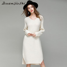 Dreamjieshi 2017 Autumn Winter Women's Knit V-Neck Casual Loose long Sleeves Dress Pullover Knitted Bottoming shirt sweater H