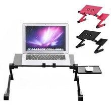 ปรับ 360 แล็ปท็อปพับโต๊ะStand Holder W/Cooling Dualพัดลมเมาส์แผ่นโน๊ตบุ๊คสำหรับเตียง