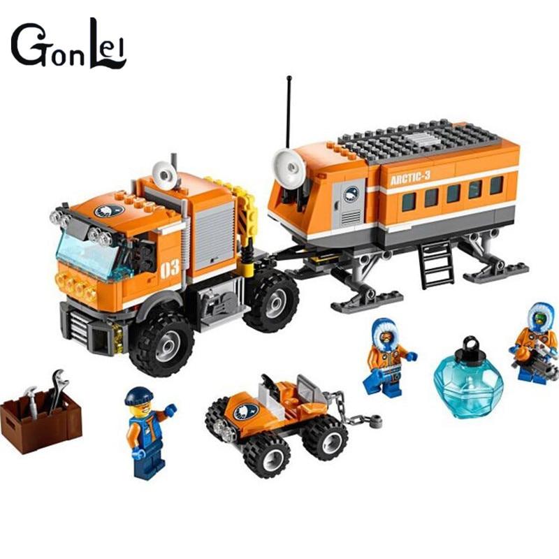 (GonLeI) 10440 394 Pcs City Arctic Outpost Policemen building blocks Model Toys jail cell Bricks stark outpost 16 2016 blue orange
