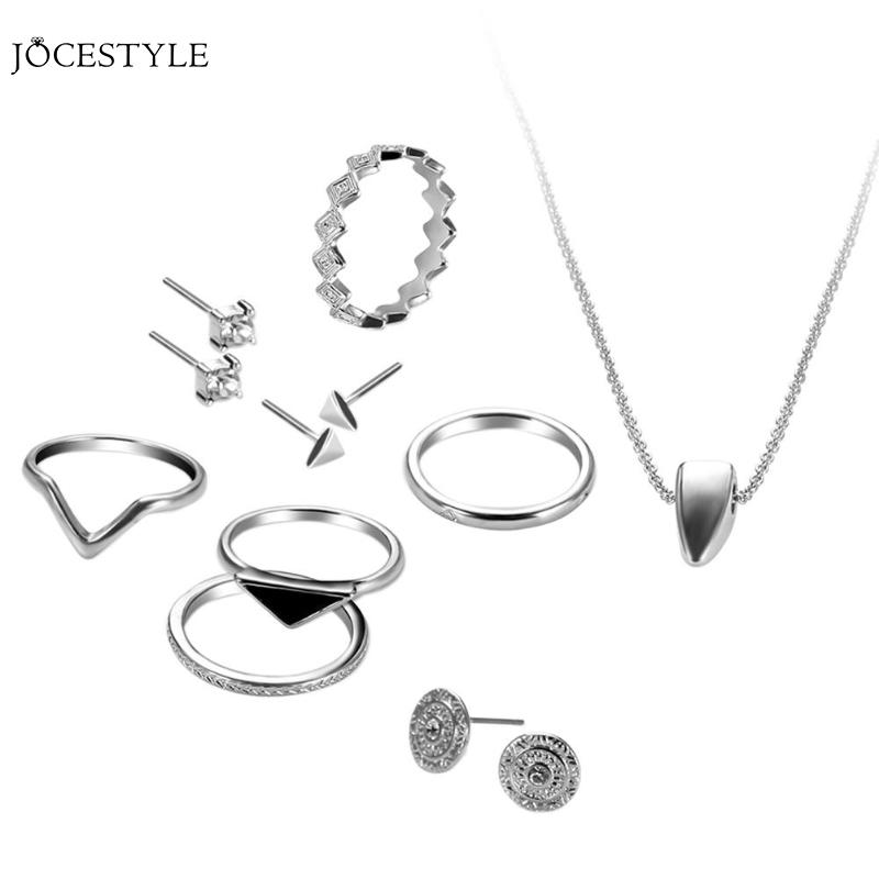 12pcs/Set Simple Alloy Geometry Rings Necklace Ear Studs Jewelry Kits Women Silver Jewelry Sets Decor Gifts All Occasions