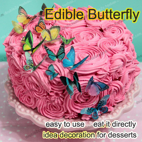Easter Edible Butterflies For Cake500pcs 3D Butterfly Cake Decorationsedible Paper Decorationwholesale Price