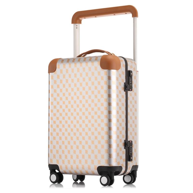 e7b0c7c3c391 Алюминий Frame дорожного чемодана тележки подвижного Koffer чашку Чемодан  чемодан кабина TSA замок bavul малая де viagem maletas Карро