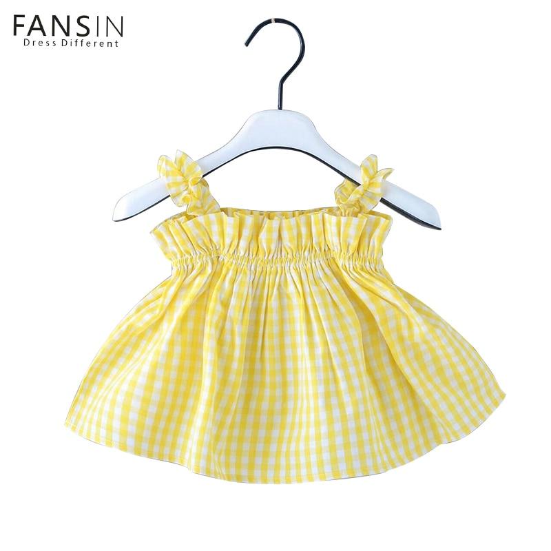Fansin Brand Baby Girl Clothing Cotton Vest Dress Children s Princess Birthday Dresses Summer Plaid Kids