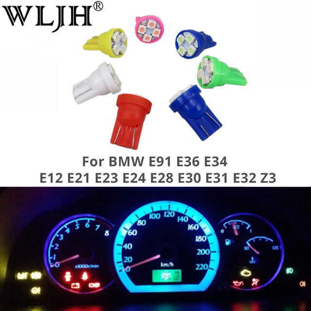 US $6 95 |WLJH T10 6 Colors 194 Led 12V Light Dashboard Instrument Gauge  Light Bulb For BMW E91 E36 E34 E12 E21 E23 E24 E28 E30 E31 E32 Z3-in Signal