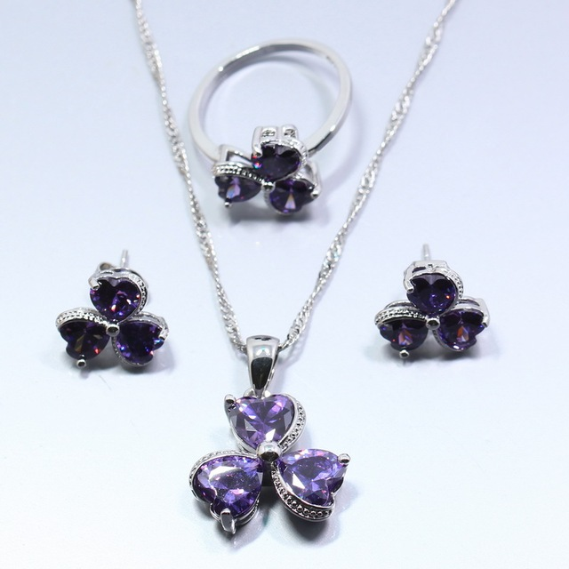 Attractive Purple Crystal 925 Silver Women Flower Jewelry Sets Earring Chain Necklace Pendant Ring Free Gift Box T317