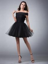 Einfache Kleine Schwarze Kleider Kurz Weg Von Der Schulter Prom Kleider Ballkleid Tüll Cocktailkleider Günstige cd7895