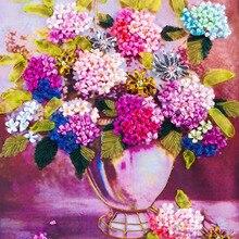 75X42 cm Schöne lila blumen DIY 3d kreuzstich kit hand Unfinished Ribbon stickerei paintingtitching handwerk geschenk