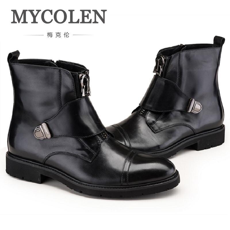 MYCOLEN Black Men Leather Boots Winter Men Motorcycle Boots Zipper Soft Leather Men Ankle Boots Military Boots Men bota militar