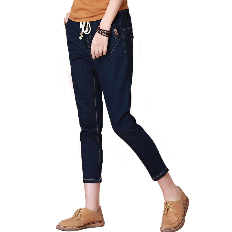 New 2017 Korean Spring Summer Elastic Waist Women Jeans Casual Loose Harem Pants Blue Denim Boyfriend Jeans E873 2017 new korean casual cat embroidery loose jeans pants