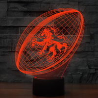 3D Visual American Football Shape Desk Lamp Creative Rugby Led Night Light 7 Color Atmosphere Home