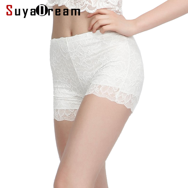 Women Safety Short Pants 100%Natural Silk Lining Seamless Boxer Healthy Lace Shorty Femme Dentelle White Black Nude Underwear