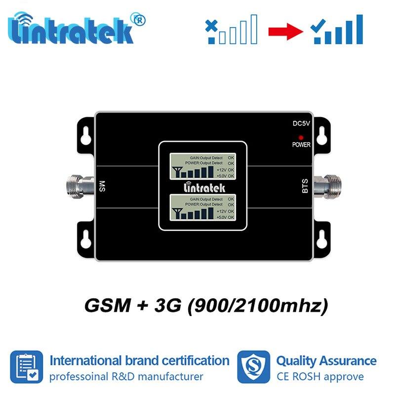 Lintratek 2G 3G Signal 2G 3G 900 mhz 2100 mhz Double bande Signal Booster LCD affichage GSM 900 WCDMA 2100 répéteur amplificateur UMTS da