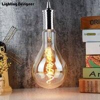 A130 grande edison lâmpada led e27 luz espiral âmbar retro lâmpada de poupança filamento do vintage edison lâmpada led luz lustre 220 v 4 w ps42|edison led|led light chandelier|led bulb e27 -