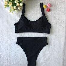 2018 Women Swimwear Biquinis Push Up Bikinis Bandeau Swimsuit Halter Swimsuit Monokini Solid Bathing Suit Newest Trikinis